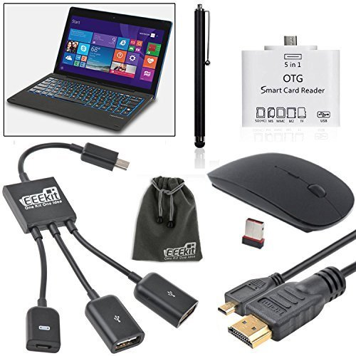 Micro HDMI Cable, OTG Card Reader,USB On The Go Cable, 2.4G Wireless Mouse and Stylus for Nextbook Flexx 11.6 2 in 1 Tablet, EEEKit 5 in 1 Starter Kit