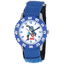 Marvel Comics Kids' W000134 Captain America Stainless Steel Time Teacher Watch