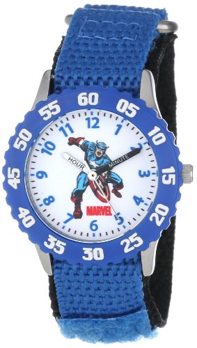"Marvel Kids' W000134 ""Time Teacher"" Captain America Stainless Steel Watch"