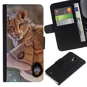 KingStore / Leather Etui en cuir / Samsung Galaxy S4 Mini i9190 / León Mariposa Naturaleza Arte Biotecnología Ojos