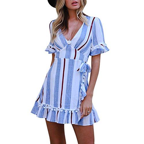 L Vestmon Femmes Stripes Sexy V Neck Wrap Manches Courtes en Dentelle d't dcontract Robes Mini Robe Bleu