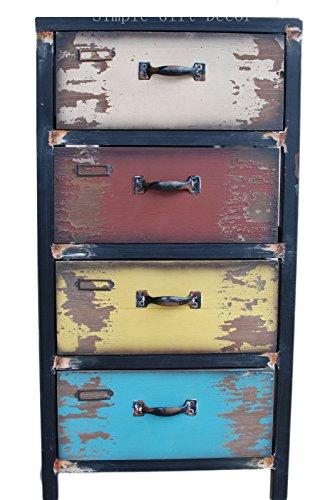 Attraction Design (31HX15.5LX11.5W Inches) Wood Antique 4-Drawer, Multicolor