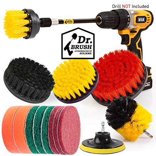 Holikme 20Piece Drill Brush Attachments Set, Scrub Pads & Sponge,Buffing Pads,Power Scrubber Brush with Extend Long…
