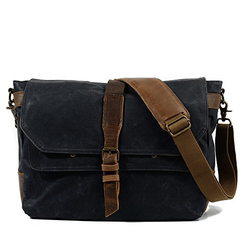 Classic Messenger Yiwuhu Color Canvas Bag Retro Dark Zipper Shoulder Waterproof Gray Simple qw0pqUP
