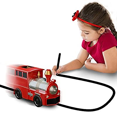 Magic Inductive Toy Truck [Follows Black Line] Car for Kids & Children - Best Toddler Toys - Mini Train Follow [Red Train] by Nylea