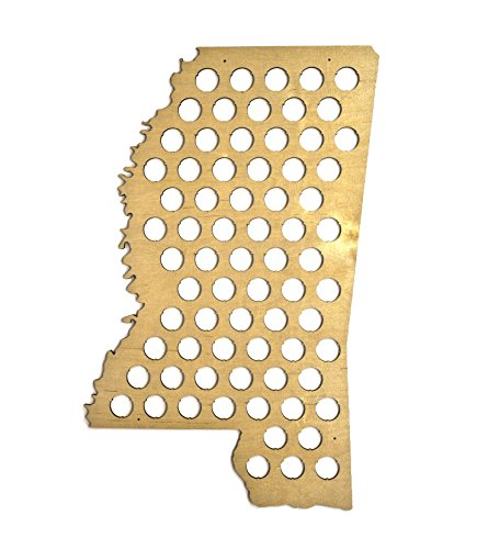 All 50 States Beer Cap Map - Mississippi Beer Cap Map MS - Glossy Wood - Skyline Workshop