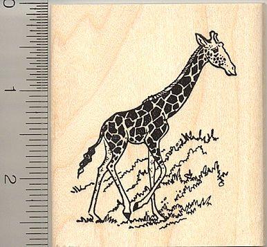 Giraffe Rubber Stamp - Wood Mounted