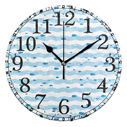 Wall Clock Fishes Swimming Blue White Chevron Round Acrylic Clock Black Large Numbers Silent Non-Ticking 9.45