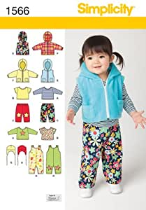 SIMPLICITY 1566 BABIES' OVERALL, JACKET OR VEST, PANTS, TOP & HAT (SIZE XX-SMALL-LARGE) SEWING PATTERNS