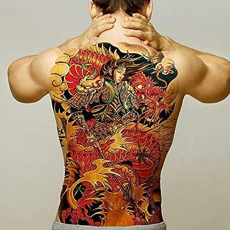 Handaxian 2 Piezas Etiqueta engomada del Tatuaje de Espalda Completa Etiqueta engomada del Tatuaje de los Hombres león dragón Cuerpo Pintado Tatuaje de Transferencia Impermeable: Amazon.es: Hogar