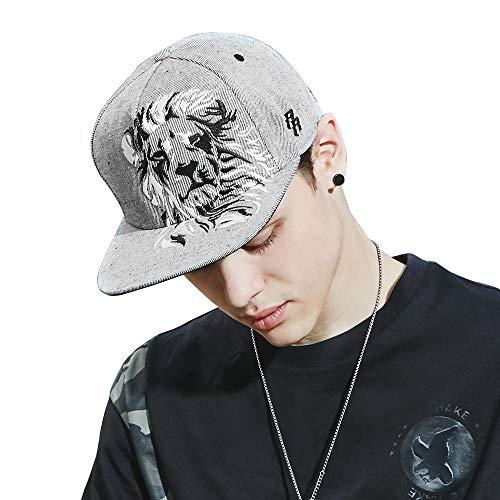 Riorex Hip hop caps Fashion Animal Embroidery Baseball Cap for Men Adjustable Leather Belt Strapback Baseball Cap (Gray(60cm,L)) by Riorex