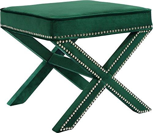 Meridian Furniture 126Green-Ott Nixon Velvet Ottoman, Green from Meridian Furniture