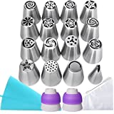 WEBSUN Russian Piping Tips Set 30 PCS Cake Decorating Supplies with User Guide E-Book, 16 Piping Tip + 2 Tri-Color Couplers + 10 Disposable Pastry Bags + 1 Reusable Piping Bag & 1 Cleaning Brush