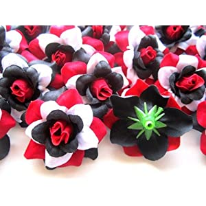 "(24) Silk Red Black White Roses Flower Head - 1.75"" - Artificial Flowers Heads Fabric Floral Supplies Wholesale Lot for Wedding Flowers Accessories Make Bridal Hair Clips Headbands Dress 2"