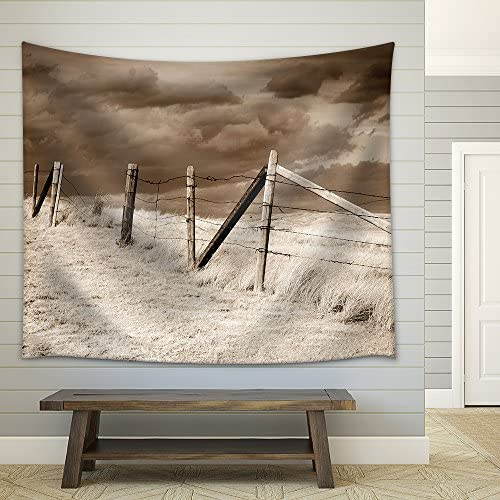 Dramatic Sky on Rural Grasslands Colorado United States Sepia Version Fabric Wall