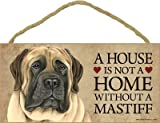 (SJT63935) A house is not a home without a (English) Mastiff wood sign plaque 5