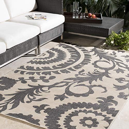 Alysia Cream and gray Indoor / Outdoor Area Rug 7'6″ x 10'9″
