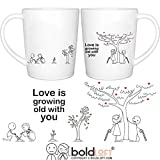 BOLDLOFT Grow Old with You His & Hers Coffee Mugs|Christmas Gifts for Boyfriend,Girlfriend|Anniversary