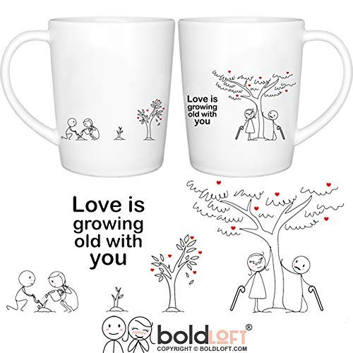 BOLDLOFT Grow Old with You His & Hers Coffee Mugs-Anniversary Gifts for Him Her Couples Husband Wife Wedding Anniversary Gifts Couples Gifts His and Hers Gifts Dating Anniversary Couples Mugs Set (Best Wedding Anniversary Gifts For Him)