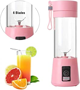 Fruit Juicer Extractor Portable Electric Automatic Juice Blender 400ML 6 Blade Mixer Bottle 21W USB Rechargeable Easy to Clean,Pink