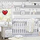 Brandream Crib Bedding Sets Neutral Baby Boy Girl Nursery Crib Bedding Woodland Arrow Deer Head Pattern White Gray Grey (9 Pieces Crib Bedding Set with Crib Rail Cover)
