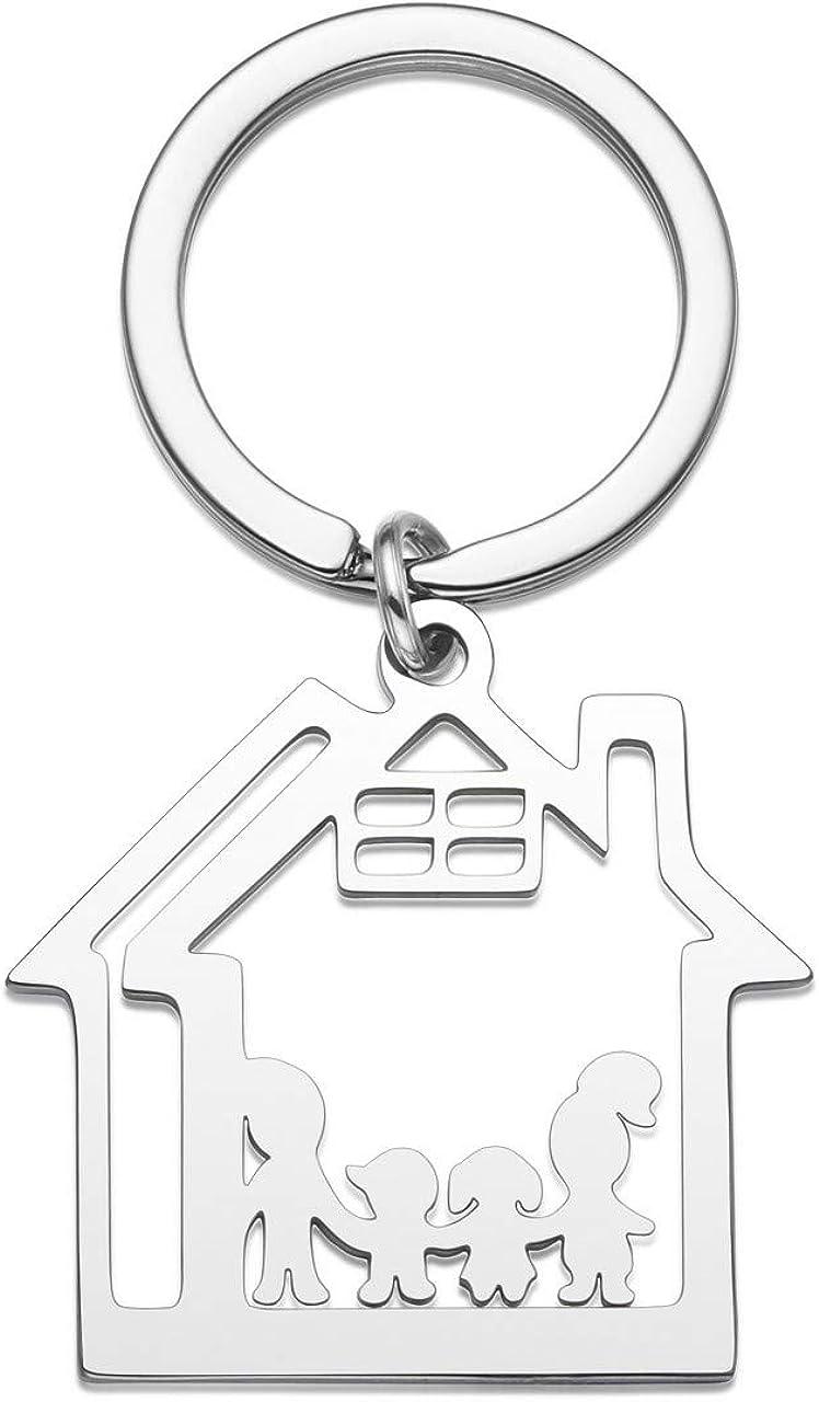 Jovivi Porte-cl/és Gravure Personnalis/ée Cadeau Cr/éatif Puzzle Maison Une Famille de Quatre Personnes Souvenir M/émorial Accessoire de Mode