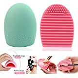 Imixshop Pack of 2 Cleaning Makeup Brush Silicone Glove Scrubber Board Cosmetic Clean Tools Brush Egg (A#Pink+Mint Green)