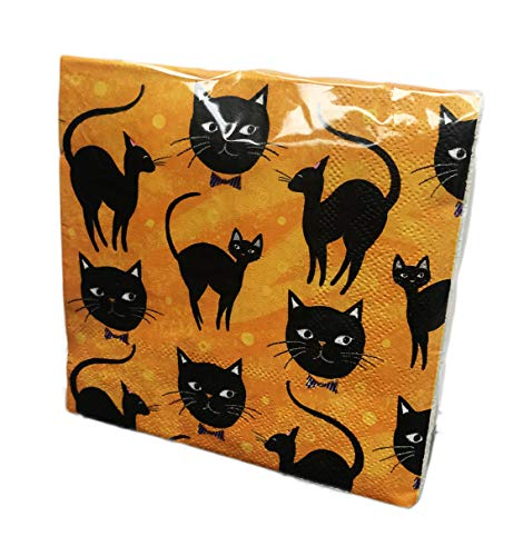 Black Cat Themed 40 Pack 3 Ply Orange Novelty Halloween Paper Cocktail Beverage Drink Party -