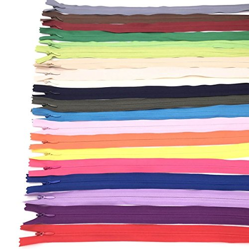 Fabcell 100Pcs 35cm (13.7inch) Nylon Coil Zippers Bulk for Sewing Crafts (Assorted Colors)