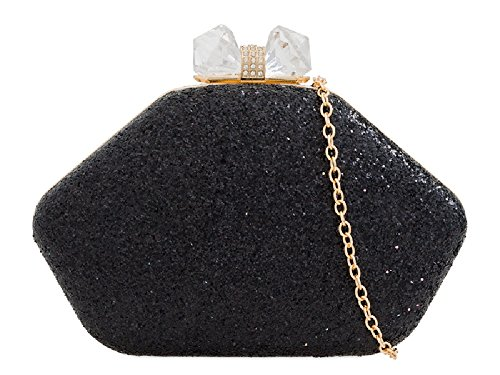 Cocktail Black Handbag KZ2270 Women's Gem Box Clutch Party Bag Ladies Glitter Clasp xqgP0wU