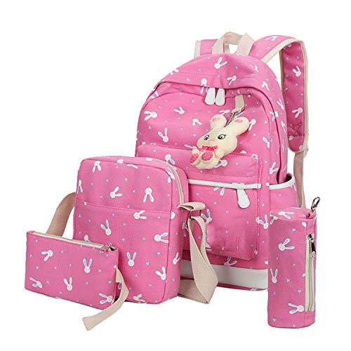 Backpacks School Bags for Teenage Girls 4 Sets Rabbit Animals Travel,Hot Pink