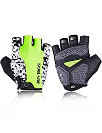 RIVBOS Bike Gloves Cycling Gloves Fingerless for Men Women with GEL Padding Breathable Mesh ReflectiveMaterial Fashion Design for Mountain Bicycle Riding SportsCHG003(Neon Yellow M)