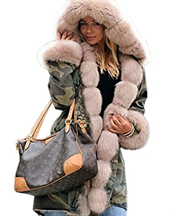 roiii thickened faux fur camouflage parka women hooded. Black Bedroom Furniture Sets. Home Design Ideas