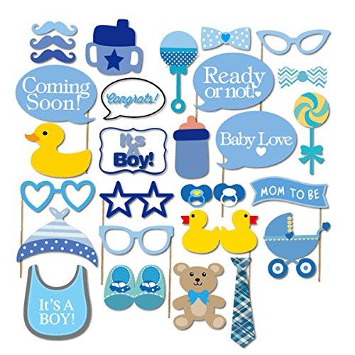 Mask Prop Set (Baby Shower Photo Props,EBTOYS 29pcs Baby Shower Decorations Baby Bottle Masks Blue Photobooth Props for Newborn Boy Party Favors Decoration)