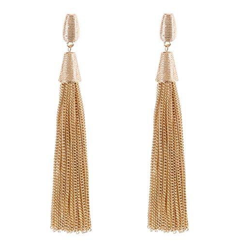 Boderier Classic Chain Tassel Drop Earrings Fashion Celebrity Dangle Earrings for Women (Gold)