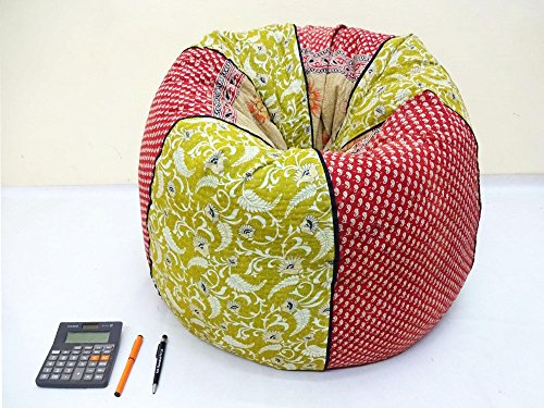 Handmade Quilted Cotton Floral Bohemian Bean Bag Chair Home Decor Round Decorative Hippie Embroidered Gypsy Ottoman Hippy Pouf