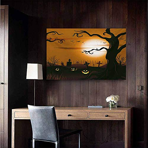 duommhome Halloween Art Oil Paintings Leafless Creepy Tree with Twiggy Branches at Night in Cemetery Graphic Drawing Canvas Prints for Home Decorations 24