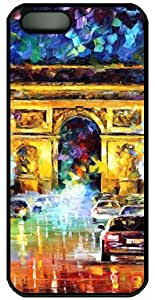 Le Arc de Triomphe Oil Painting PC Custom iPhone 4/4S Case Cover - Black