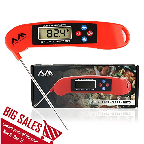 Arctic Monsoon BBQ Digital Wireless Meat Thermometer, Accurate and Instant Read with Collapsible Probe, Red (Pack of 1) (Digital Iphone Meat Thermometer compare prices)
