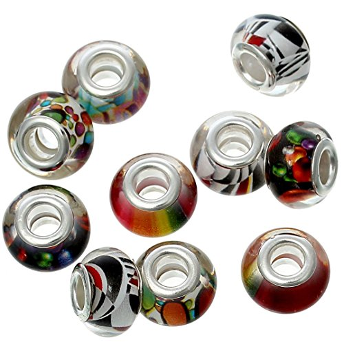 Pack of 20 Beads Wholesale - European Style Charm Beads Round Mixed Pattern RED Yellow ()