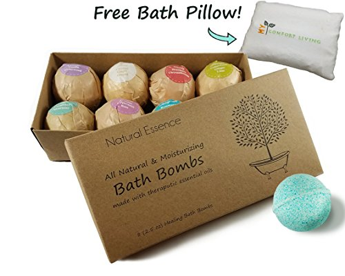 Natural Essence Bath Bombs with FREE PILLOW Gift Set of 8 (2.5oz) by My Comfort Living. Aromatherapy, Essential Oils - Handmade (best lush fizzies for her teen girl mothers day bubble balls)