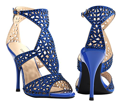 Ankle Blue High Dress Party Heels Sandals Cutouts Strap Sparkle Stiletto Women's Crystal 6IfABq4n