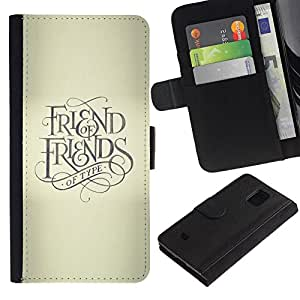 KLONGSHOP / Tirón de la caja Cartera de cuero con ranuras para tarjetas - Friend Keep God Cross Beige Text - Samsung Galaxy S5 Mini, SM-G800, NOT S5 REGULAR!