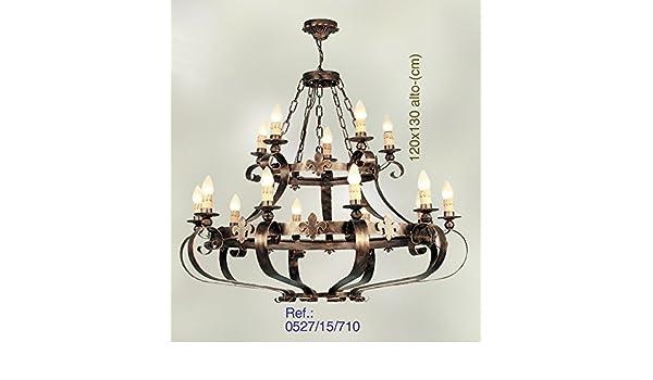 LAMPARA DE 15 LUCES DE FORJA MODELO VALENCIA 0527/15: Amazon ...