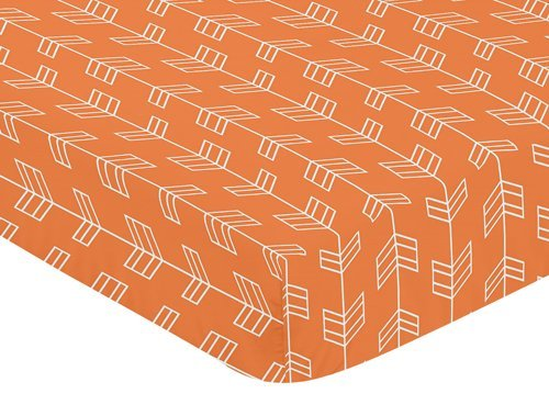 Orange Changing Pad Cover - Sweet Jojo Designs Fitted Crib Sheet for Orange and Navy Arrow Baby/Toddler Bedding Set Collection - Arrow Print