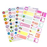 97 Pcs Waterproof Name Labels Stickers Tags Write-On Blank Name Badge, Baby Bottle Labels for Daycare Children Kids School, 97 Different Pattern Design (Pack of 4)