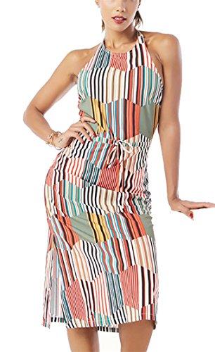 Women Halter Sexy Bodycon Neck Sleeveless 1 Striped Jaycargogo Split Casual Dress RwdTqER