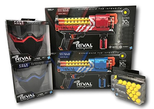 NERF Rival Bundle with Red and Blue Artemis XVll-3000, (2) Face Masks, and (2) 25x High-Impact Rounds