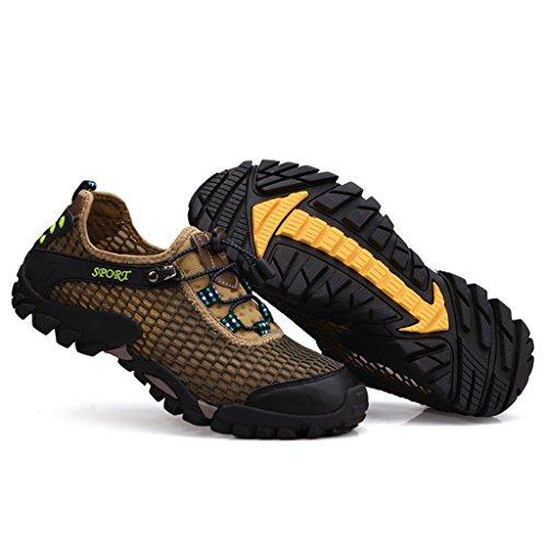 Eagsouni® Hombres Resbalón Ata Para Arriba respirable en los zapatos de malla Zapatos caqui