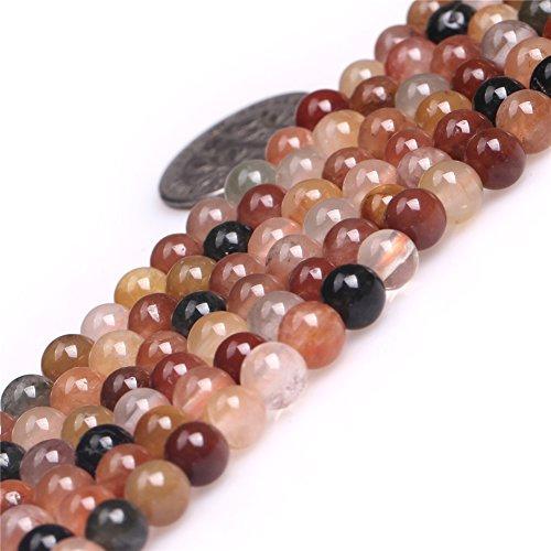 Rutilated Quartz Beads for Jewelry Making Semi Precious Gemstone 6mm Round Multicolored Strand 15